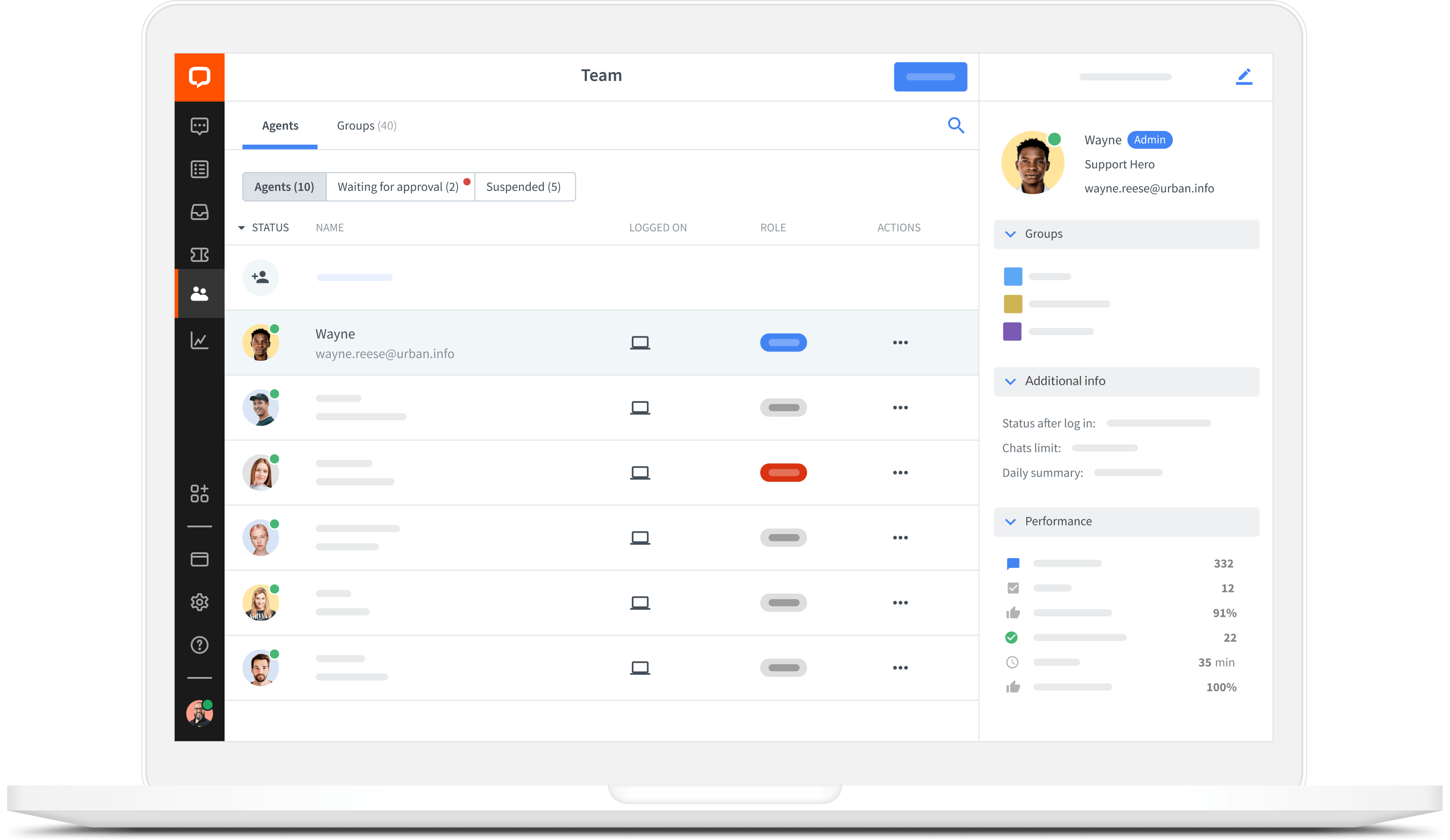 Team management in LiveChat app for Mac