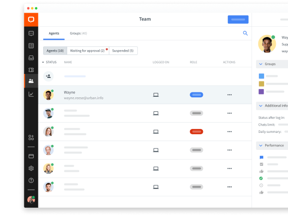 Team management in LiveChat web app