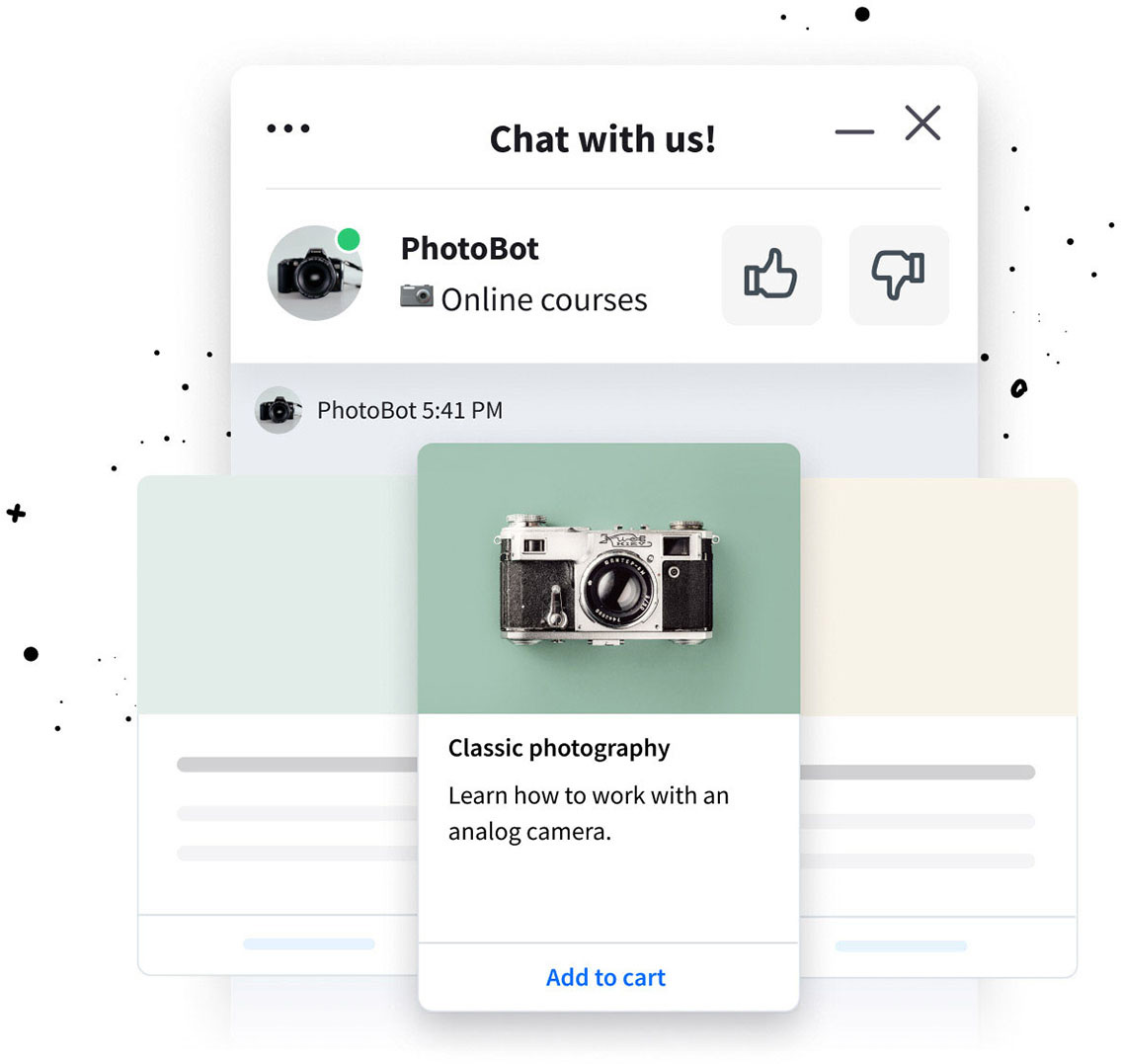 Chat bot rich messages for LiveChat integration - carousel