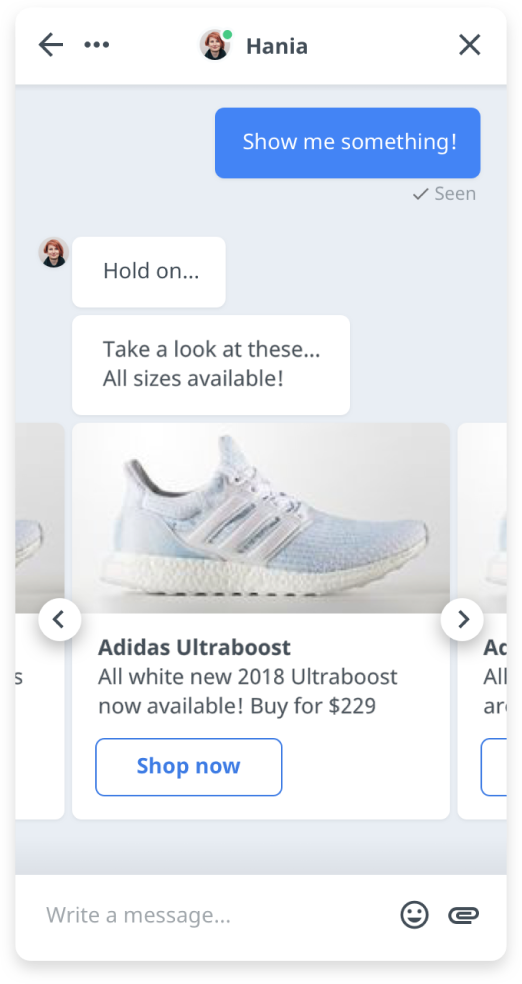 Product card in chat widget