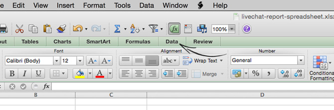 Accessing the data tab in Excel