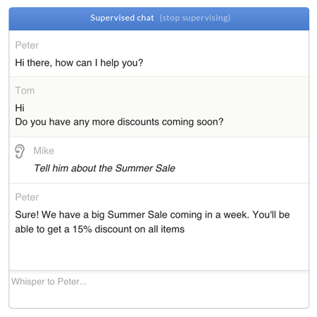 Feature list: Team management - Chat supervision