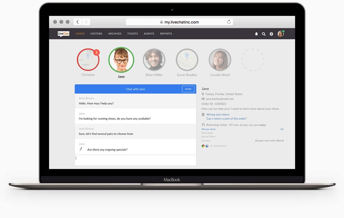 LiveChat - clientes esperando en su sitio web