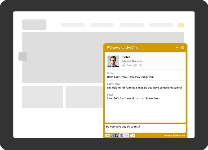 Visualização do LiveChat pelo visitante