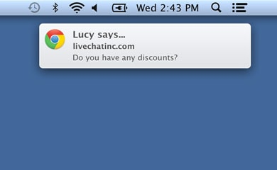 Desktop notification for the new LiveChat