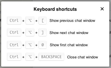 Keyboard shortcuts in LiveChat