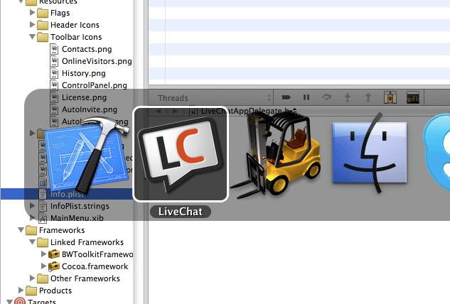 LiveChat app icon among others on Mac OS X