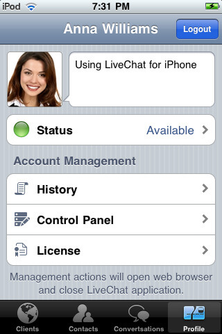 Agent profile in LiveChat for iPhone
