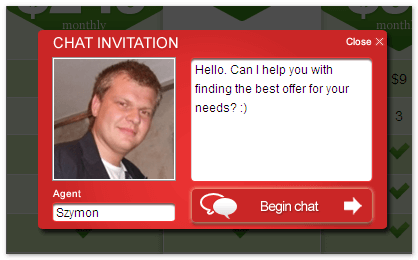 Personal Chat Invitation displayed to the website visitor