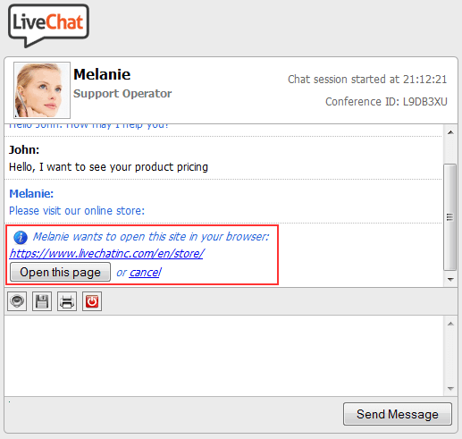 Using a push page in LiveChat