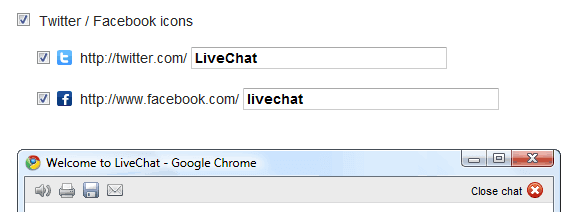 Adding Twitter and Facebook social media icons to LiveChat