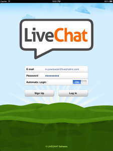 Login screen of LiveChat for iPad