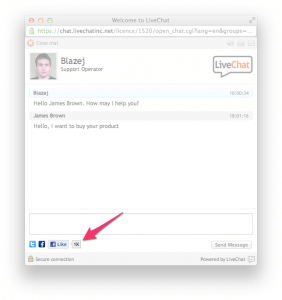 LiveChat with Facebook Like button