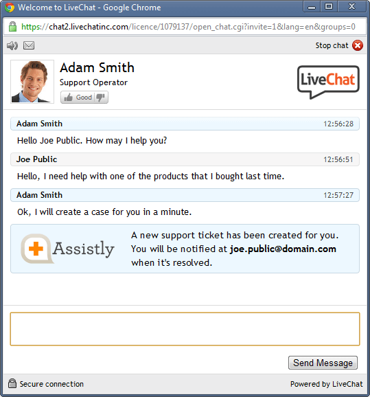 Assistly integration in LiveChat from visitor's perspective