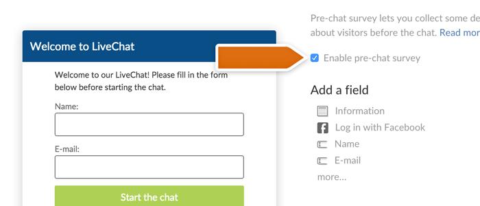 Enabling pre-chat survey