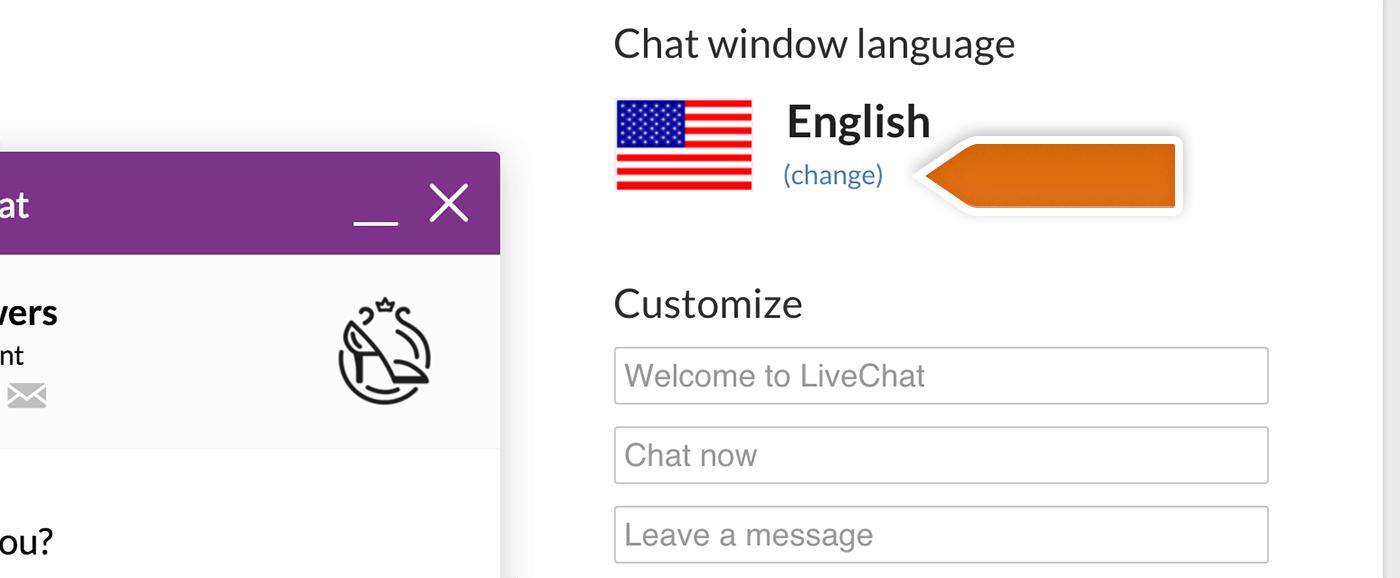 Modify Chat Window Language Livechat