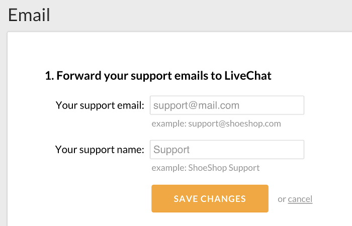 Entering support email and name