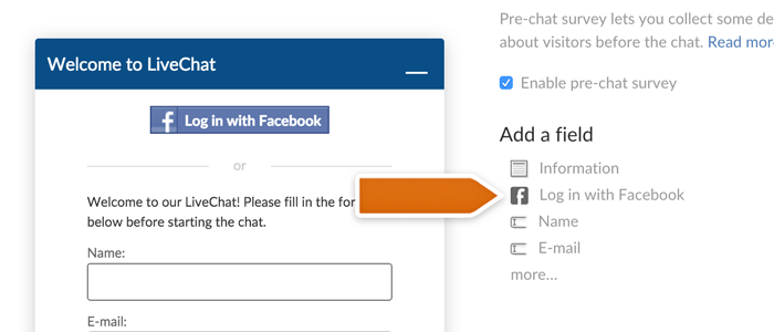 Adding facebook connect to LiveChat prechat