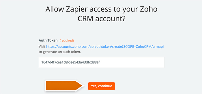 Authorizing application in Zapier