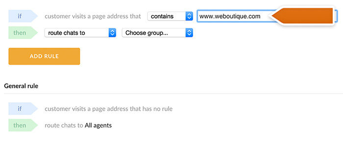 Entering website URL to create a rule
