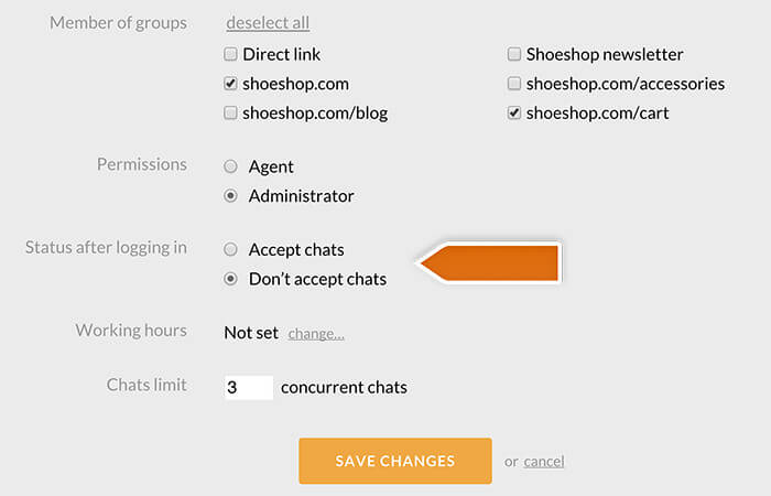 Changing the default Agent status in LiveChat
