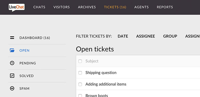 Tickets section in LiveChat