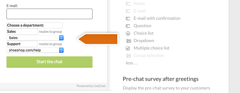Editing group-selection in the pre-chat survey