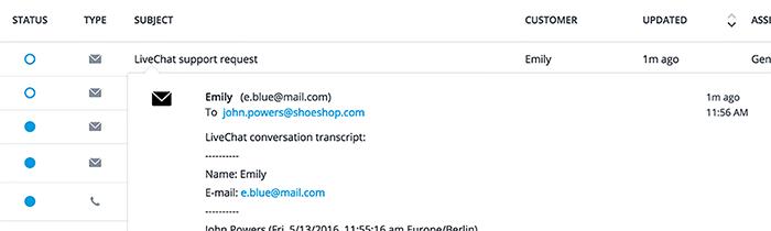 LiveChat transcript in Desk dashboard