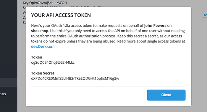 Desk.com integration: accessing tokens