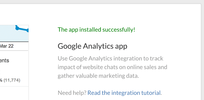 Successful Google Analytics app installation