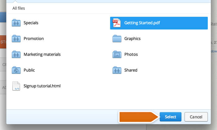 Selecting dropbox file
