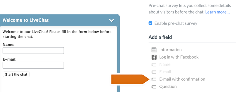 Adding the pre-chat survey field