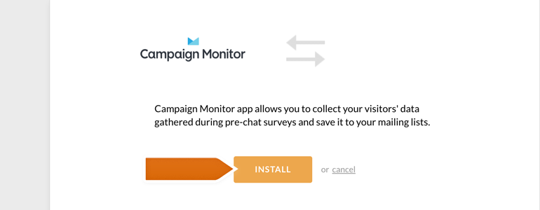 Installing Campaign Monitor app