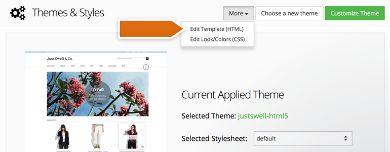 Choose Edit Template (HTML), available under More button