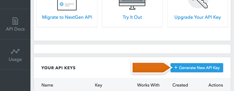 Click on Generate API key available in FullContact's dashboard