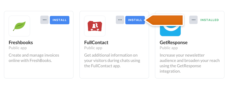 FullContact LiveChat: Find your FullContact app and click on Install to proceed