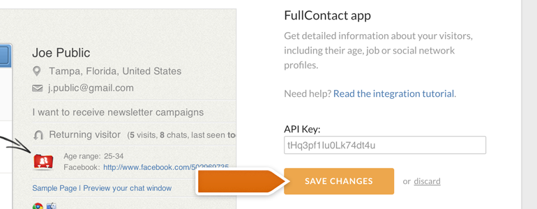 Entering the FullContact API key