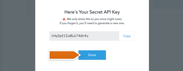 Copy API key generated in FullContact's dashboard