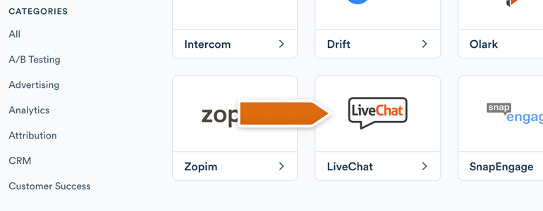 Choose LiveChat from the list of available integrations