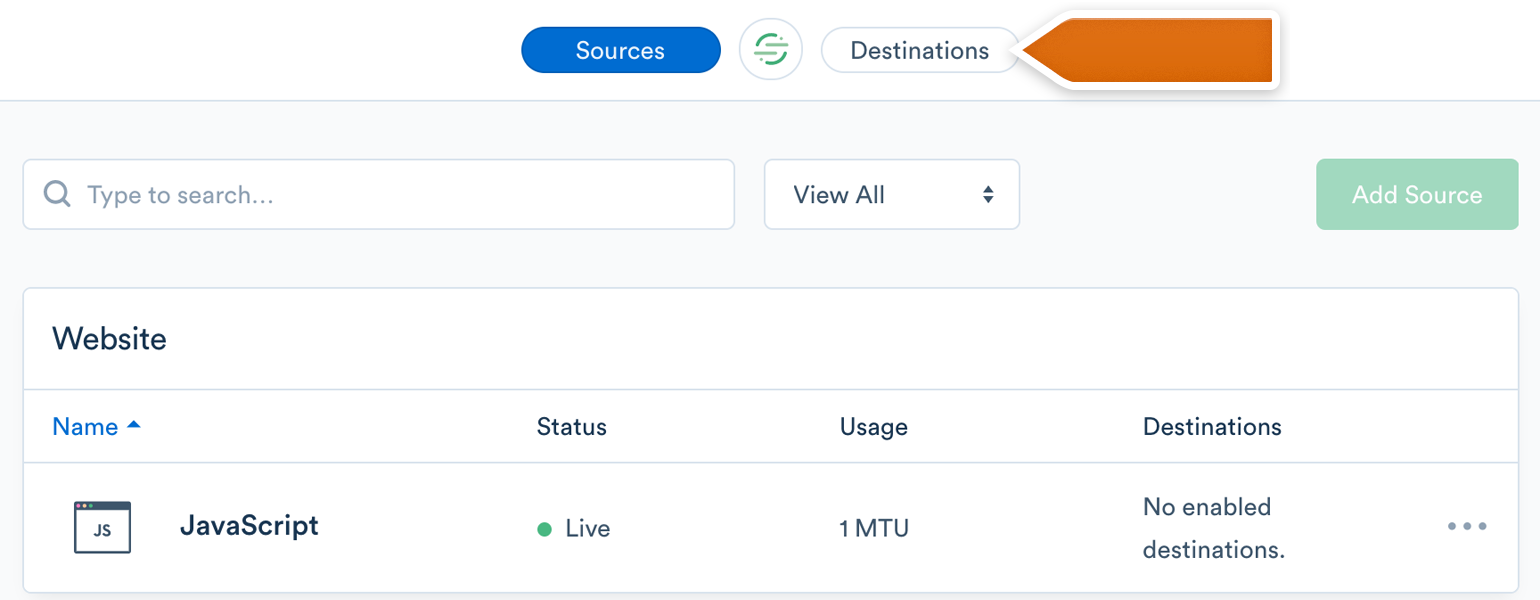 Go to the Destinations category in your Segment account