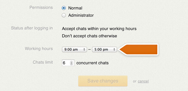 New LiveChat work scheduler