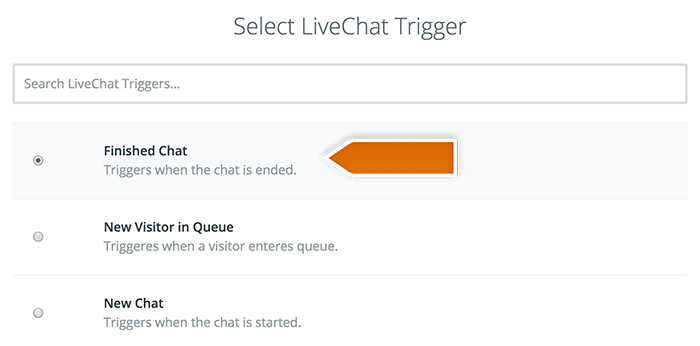 Base CRM integration: Selecting LiveChat trigger