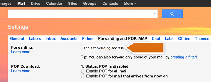 Adding a forwarding address