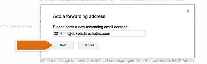 Entering a forwarding address
