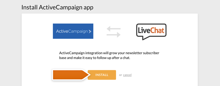 Install ActiveCampaign app on your LiveChat