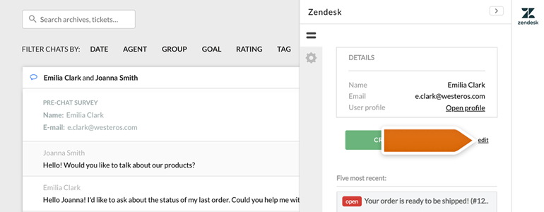 Zendesk LiveChat: create an advanced ticket from archives