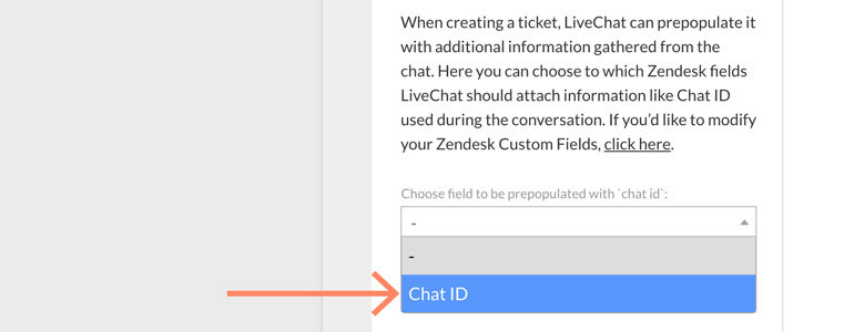 Zendesk LiveChat: choose a filed to which LiveChat will attach chat ID