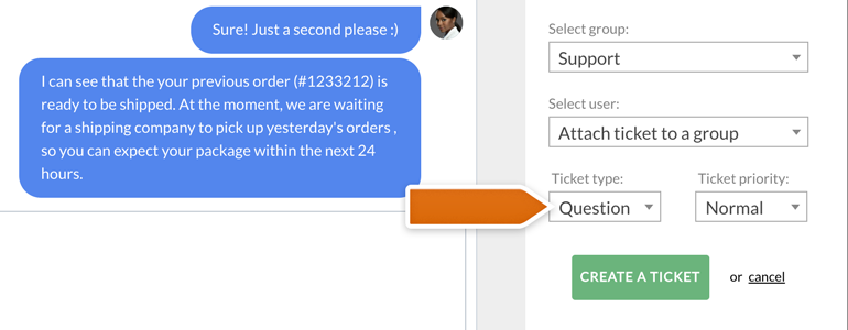 Zendesk LiveChat: choose type and priority of a ticket