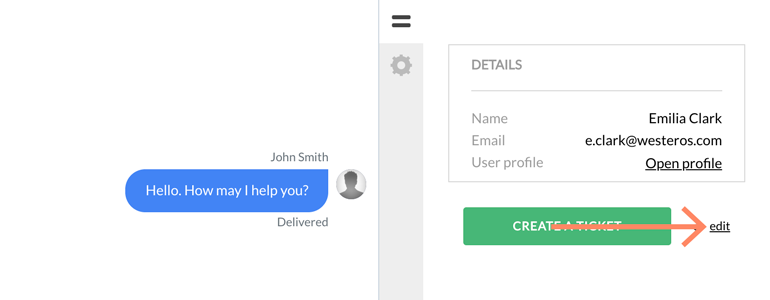 Zendesk LiveChat: click on the Edit button in Customer's profile