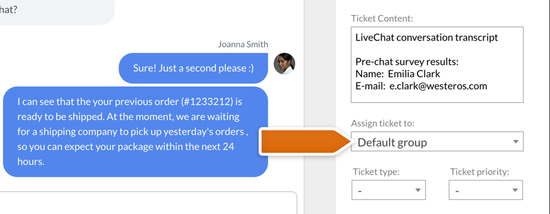 Zendesk LiveChat: assign a ticket to specific group